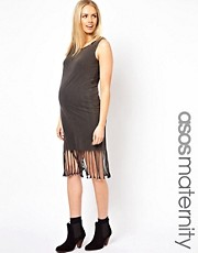 ASOS Maternity Midi Dress in Acid Wash With Fringe Hem