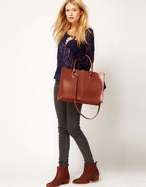 Image 3 ofASOS Leather Scallop Edge Shopper
