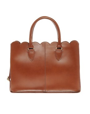 Image 1 ofASOS Leather Scallop Edge Shopper
