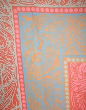 Image 2 ofJonathan Saunders Stripe Pink And Turquoise Chiffon Scarf