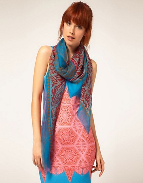 Image 1 ofJonathan Saunders Stripe Pink And Turquoise Chiffon Scarf