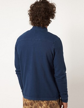 Image 2 ofASOS Cardigan In Worker Jacket Style With Indigo Wash
