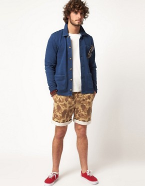 Image 4 ofASOS Cardigan In Worker Jacket Style With Indigo Wash