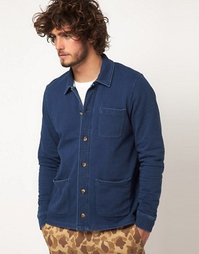 Image 1 ofASOS Cardigan In Worker Jacket Style With Indigo Wash