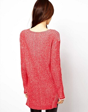 Image 2 ofASOS V-Neck Jumper In Chunky Knit With Stepped Hem