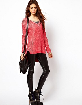 Image 4 ofASOS V-Neck Jumper In Chunky Knit With Stepped Hem