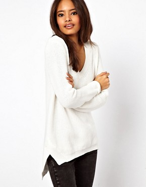 Image 1 ofASOS V-Neck Jumper In Chunky Knit With Stepped Hem