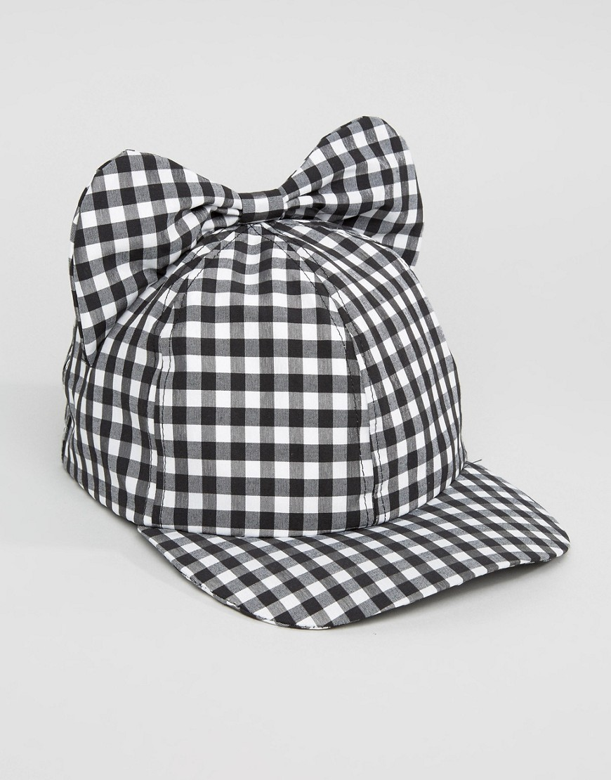 helene-berman-gingham-cap-with-bow-black