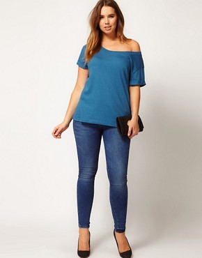Image 4 of ASOS CURVE Exclusive Off The Shoulder T-Shirt