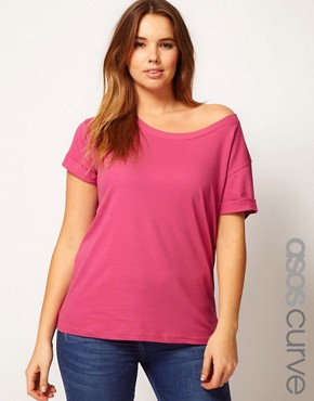 Image 1 of ASOS CURVE Exclusive Off The Shoulder T-Shirt
