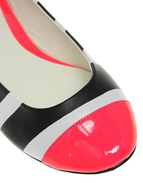 Image 2 ofASOS LADYBUG Toe Cap Neon Ballet Shoes