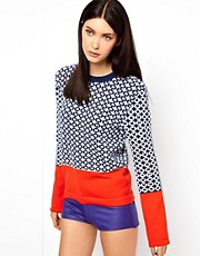 Ostwald Helgason Link Knit Lambswool Sweater with Contrast Cuff