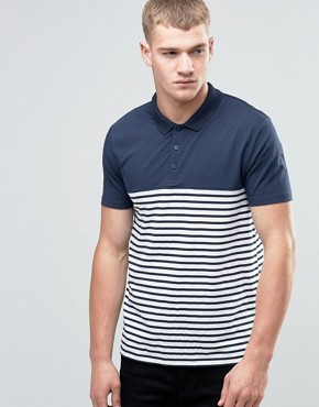 ASOS Breton Stripe Polo Shirt In Navy