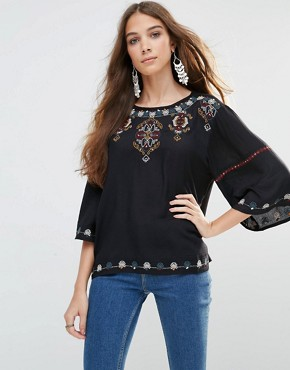 Raga Call of the Wild Embroidered Top In Black