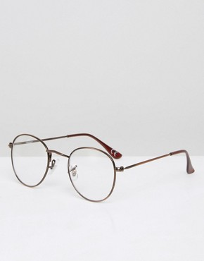 ASOS Round Clear Lens Sunglasses With Burnished Copper Frame