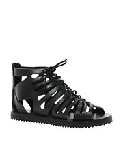 ASOS FESTIVAL Leather Gladiator Flat Sandals