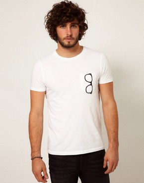 Image 2 ofASOS T-Shirt With Printed Glasses Pocket