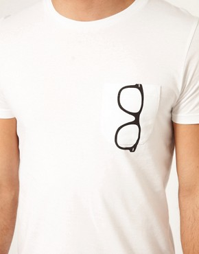 Image 4 ofASOS T-Shirt With Printed Glasses Pocket