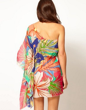 Image 2 ofLiquorish Beach Floral One Shoulder Kaftan