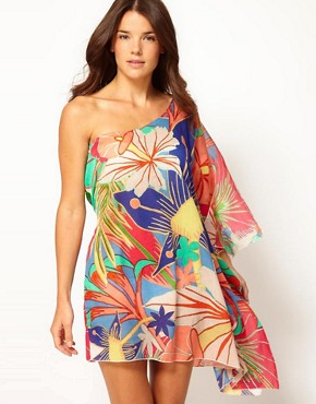 Image 1 ofLiquorish Beach Floral One Shoulder Kaftan