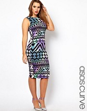 ASOS CURVE Bodycon Dress In Aztec Print