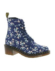 Dr Martens - Lynn - Stivaletti in tela blu navy con tulipani