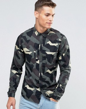 ASOS Shirt With Abstract Camo Print In Green With Long Sleeves In Regular Fit