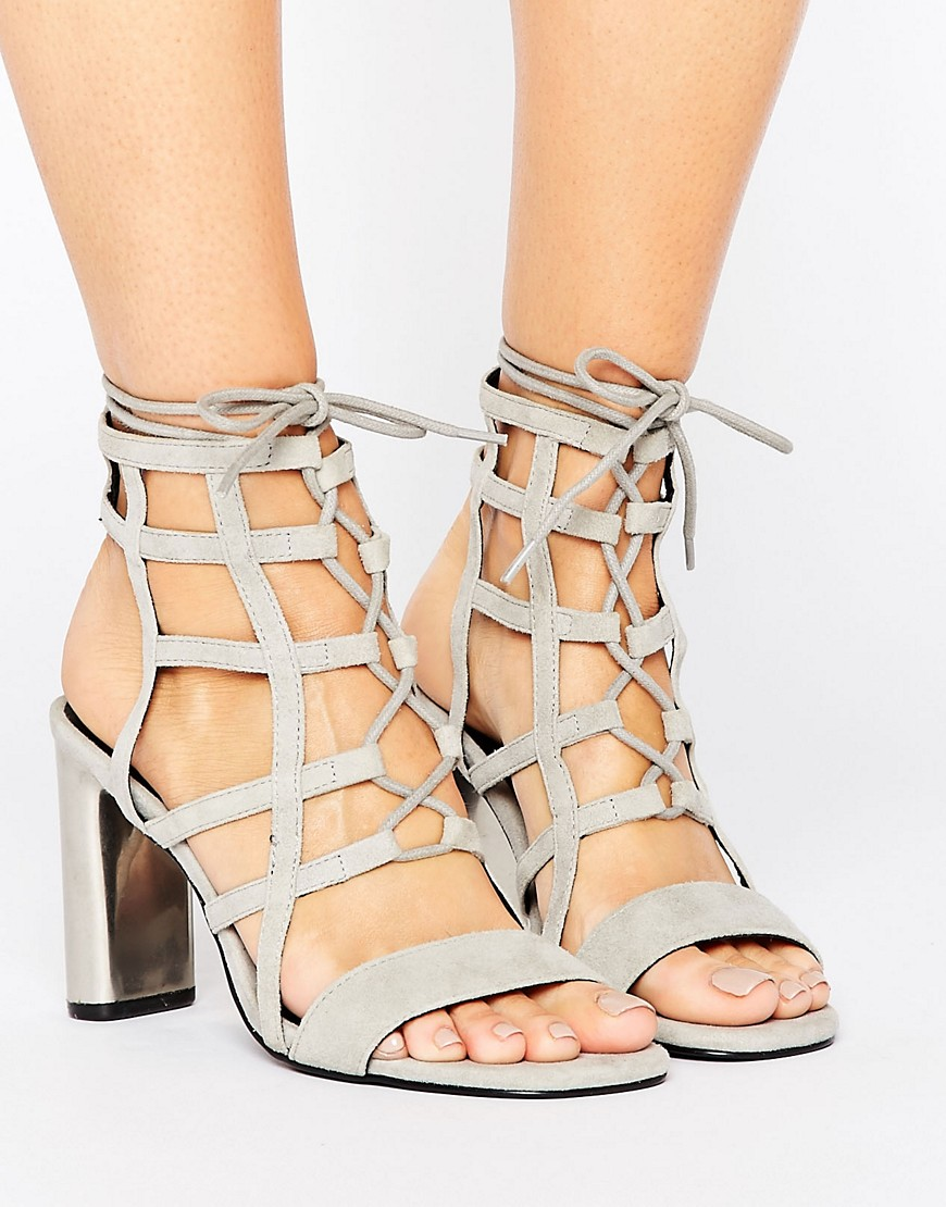 Sol Sana Helen Caged Detail Heeled Sandals - Gray