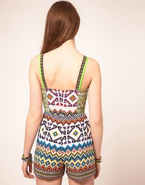 Image 2 ofASOS Playsuit in Mex Tex Print