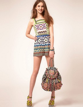 Image 4 ofASOS Playsuit in Mex Tex Print