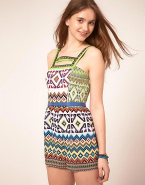Image 1 ofASOS Playsuit in Mex Tex Print