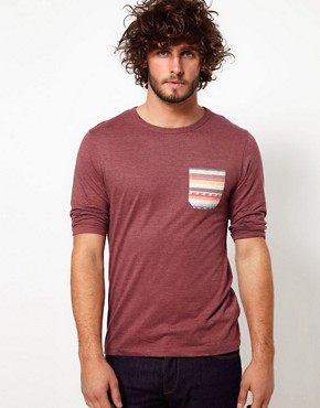 Image 1 ofASOS 3/4 Sleeve T-Shirt With Aztec Pocket