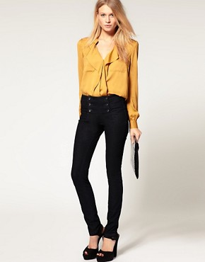 Image 4 of ASOS Indigo Matelot Jeggings