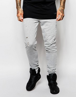 Criminal Damage Distressed Joggers With Rips