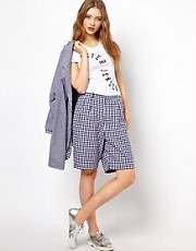 Peter Jensen Loose Shorts with Contrast Check Cuff