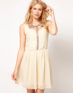 Image 1 ofLove Sequin Trim Shirt Dress