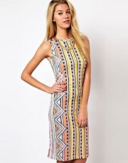 Glamorous Midi Dress In Aztec Stripe