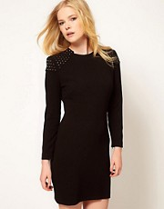 Mango Stud Shoulder Bodycon Dress