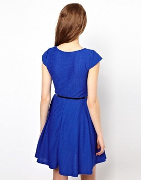 Image 2 ofA Wear Textured Skater Dress With Belt
