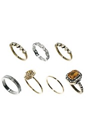 ASOS Skull &amp; Jewel Ring Pack