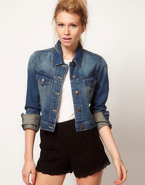 Image 1 ofASOS Western Denim Jacket in Vintage Wash