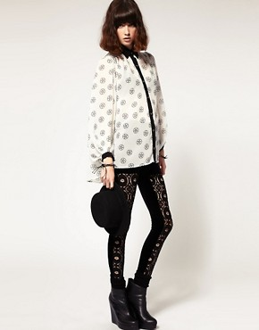 Image 1 ofEvil Twin &#39;The Righteous Few&#39; Lace Panelled Leggings