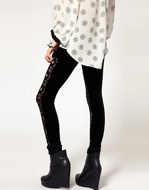 Image 2 ofEvil Twin &#39;The Righteous Few&#39; Lace Panelled Leggings