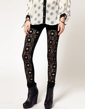 Image 4 ofEvil Twin &#39;The Righteous Few&#39; Lace Panelled Leggings