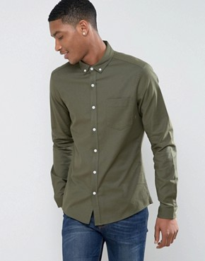 ASOS Casual Regular Fit Oxford Shirt In Khaki