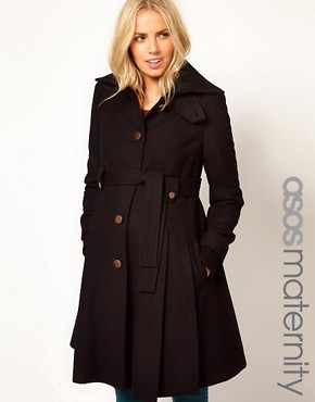 Image 1 ofASOS Maternity Fit And Flare Coat With Rib Foldover Collar
