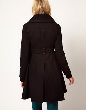 Image 2 ofASOS Maternity Fit And Flare Coat With Rib Foldover Collar