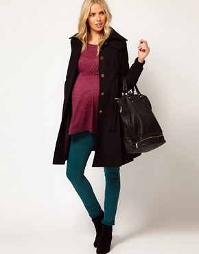 Image 4 ofASOS Maternity Fit And Flare Coat With Rib Foldover Collar
