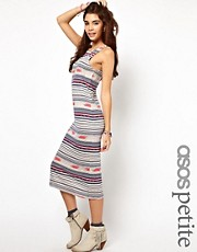 ASOS PETITE Body-Conscious Dress In Stripe Navaho Print