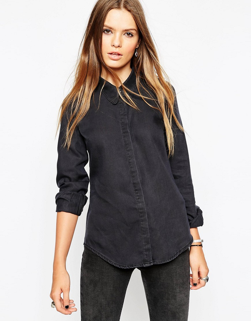 Image 1 of ASOS Denim Shirt in Washed Black With Sharp Collar
